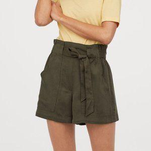 H&M paperbag tie-waist shorts, M/8